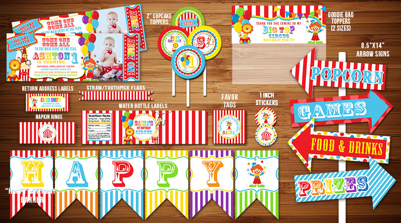 Circus Complete Party Package - Printable (26 Items)