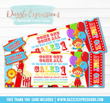 Circus Ticket Birthday Invitation 5 - FREE thank you card