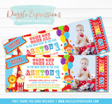 Circus Ticket Birthday Invitation 1 - Thank You Card Included