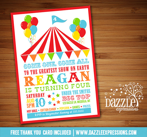 Circus or Carnival Birthday Invitation 6 - FREE thank you card included