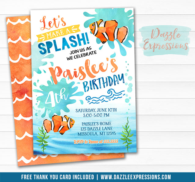 Clown Fish Watercolor Invitation - FREE thank you card inlcuded