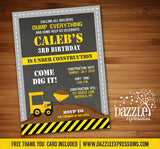 Construction Chalkboard Birthday Invitation - FREE thank you card included