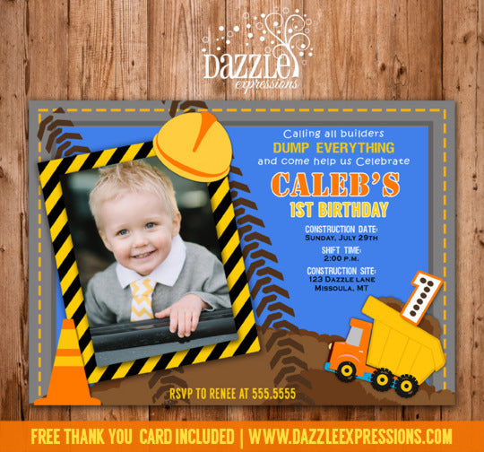 Construction Birthday Invitation - Thank You Card Included