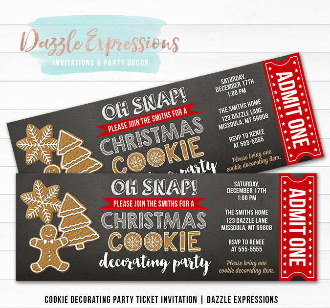 Cookie Decorating Party Ticket Invitation 2