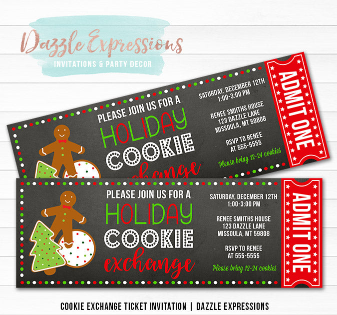 Cookie Exchange Party Ticket Invitation 1