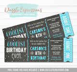 Coolest Birthday Ever Chalkboard Ticket Invitation - FREE thank you card