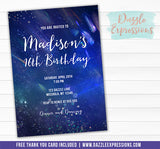 Cosmic Space Invitation 2 - FREE thank you card included