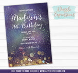 Cosmic Space Invitation 3 - FREE thank you card included