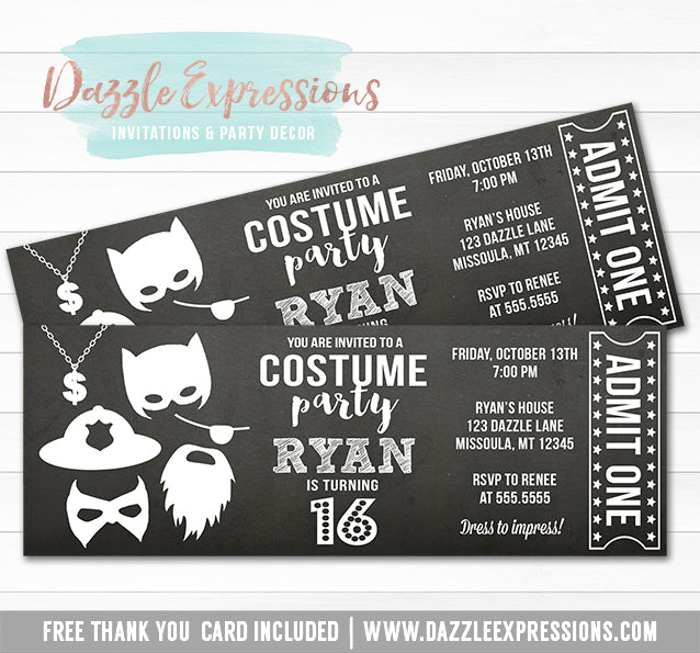 Costume Party Ticket Invitation 6 - FREE thank you card