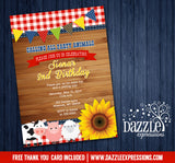 Country Barnyard Birthday Invitation - FREE thank you card included