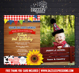 Country Barnyard Birthday Invitation 2 - FREE thank you card included