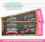 Cowgirl Rustic Chalkboard Ticket Invitation - FREE thank you card