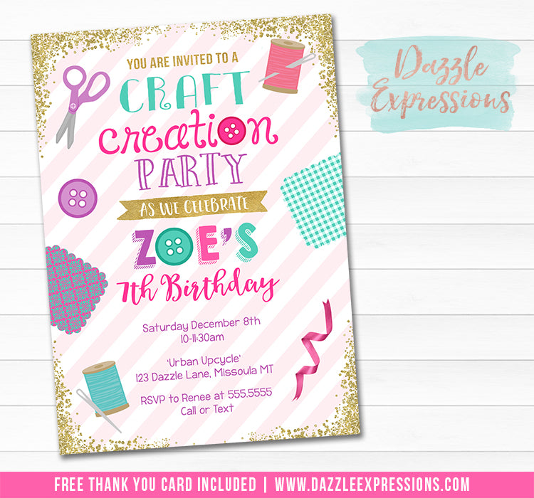 Craft Creation Invitation - FREE thank you card