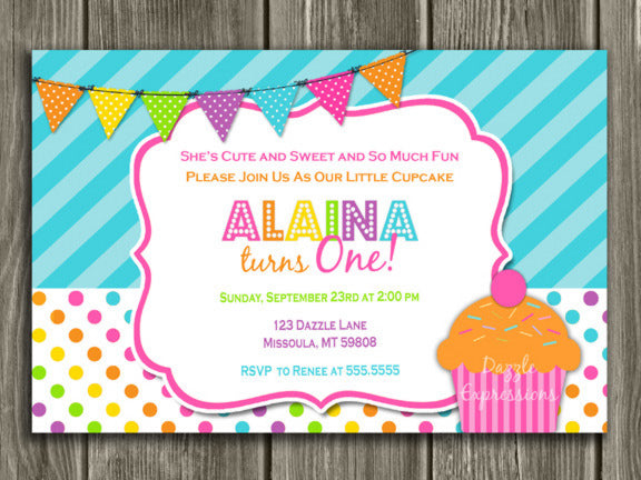 Cupcake Birthday Invitation 2 - FREE thank you card