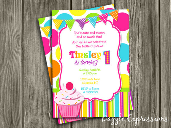 Cupcake Birthday Invitation 4 - FREE thank you card
