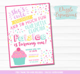 Cupcake Birthday Invitation 1 - FREE thank you card