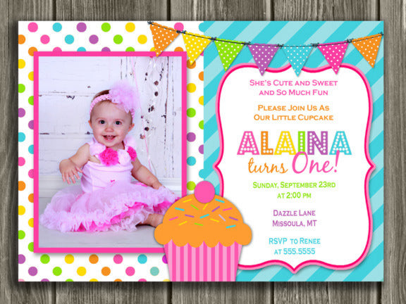 Cupcake Birthday Invitation 5 - FREE thank you card