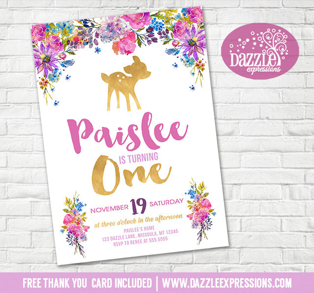 Floral and Gold Deer Invitation 2 - FREE thank you card