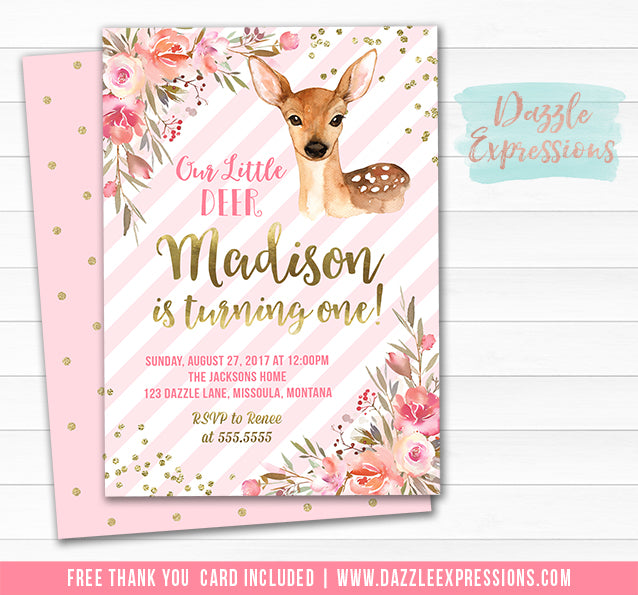 Deer Floral Birthday Invitation 3 - FREE thank you card