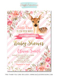 Deer Floral Baby Shower Invitation - FREE thank you card included