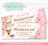 Deer Floral Ticket Invitation 1 - FREE thank you card included