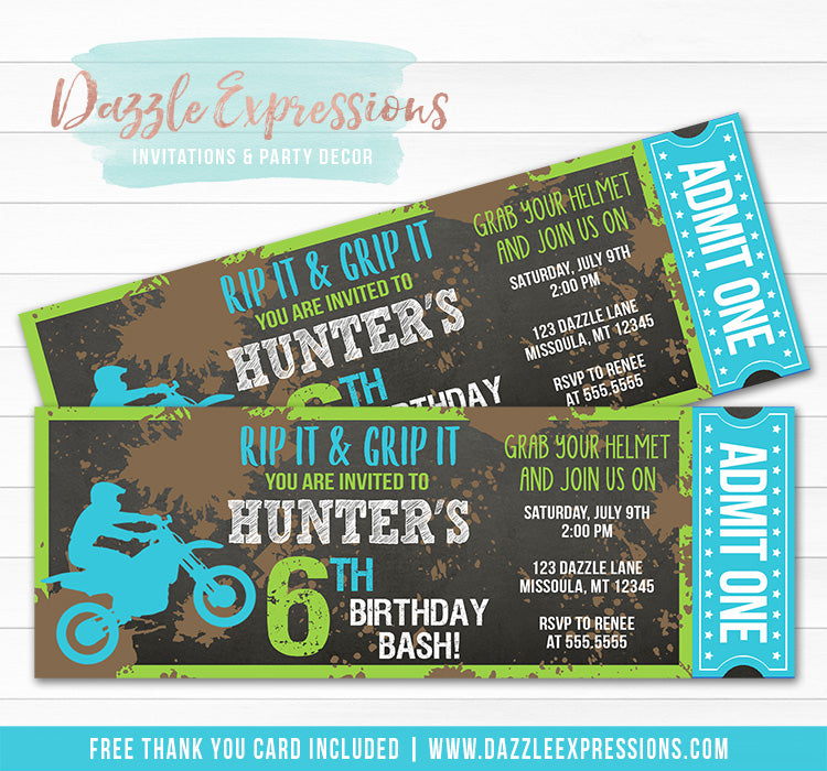 Dirt Bike Chalkboard Ticket Invitation 1 - FREE thank you card included