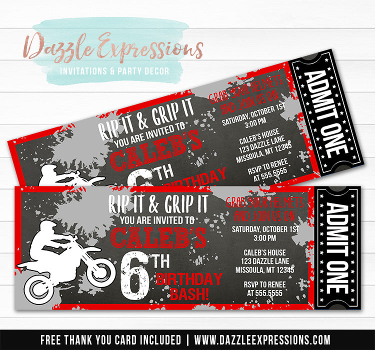 Dirt Bike Chalkboard Ticket Invitation 2 - FREE thank you card included