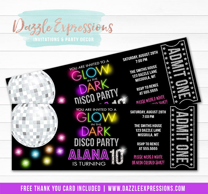 Glow in the Dark Disco Ticket Invitation 2 - FREE thank you card