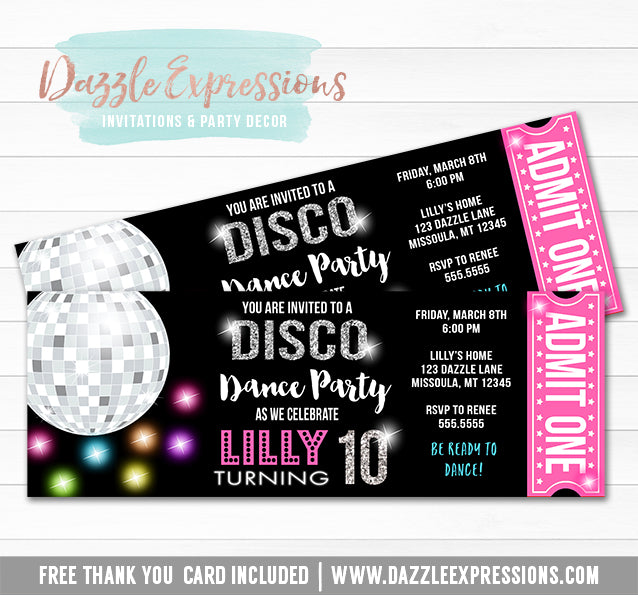 Disco Dance Ticket Invitation 1 - FREE thank you card