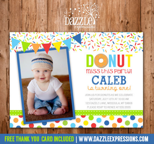 Donut Birthday Photo Invitation - Boy Colors - FREE thank you card included