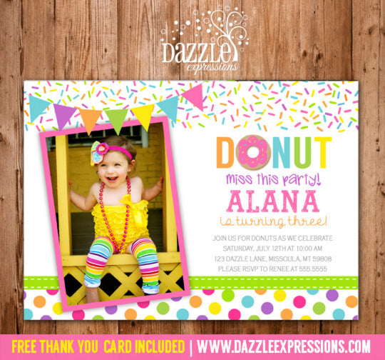 Donut Birthday Photo Invitation - FREE thank you card included