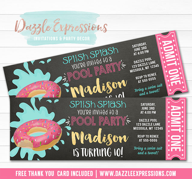 Donut Float Chalkboard Pool Party Ticket Invitation - FREE thank you card