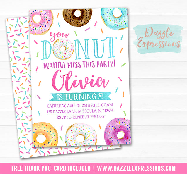 Donut Watercolor Invitation - FREE thank you card