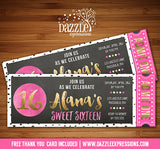 Gold Foil and Dots Chalkboard Ticket Invitation - FREE thank you card