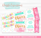 Double Digits Ticket Invitation - FREE thank you card included
