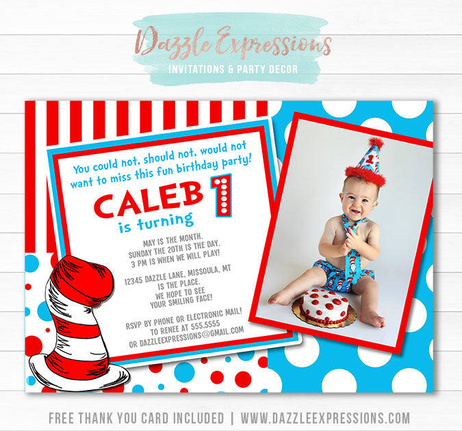 Dr Seuss Inspired Birthday Invitation 2 - Thank You Card Included