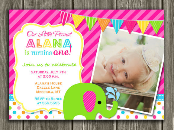 Elephant Birthday Invitation 3 - Thank You Card Included
