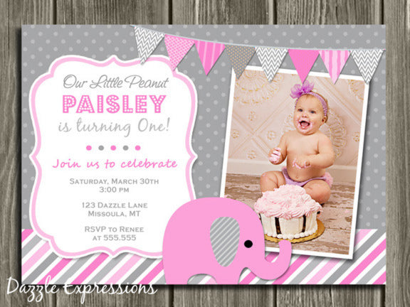Elephant Birthday Invitation 5 - Thank You Card Included