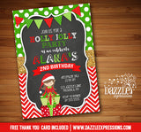 Holly Jolly Elf Glitter and Chalkboard Invitation - FREE thank you card included