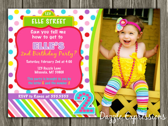Colorful Street Sign Birthday Invitation 2 - Thank You Card Included