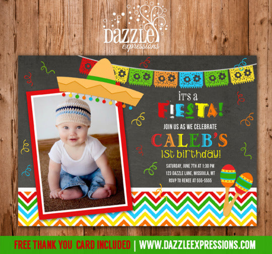 Fiesta Chalkboard Invitation 2 - FREE Thank You Card Included