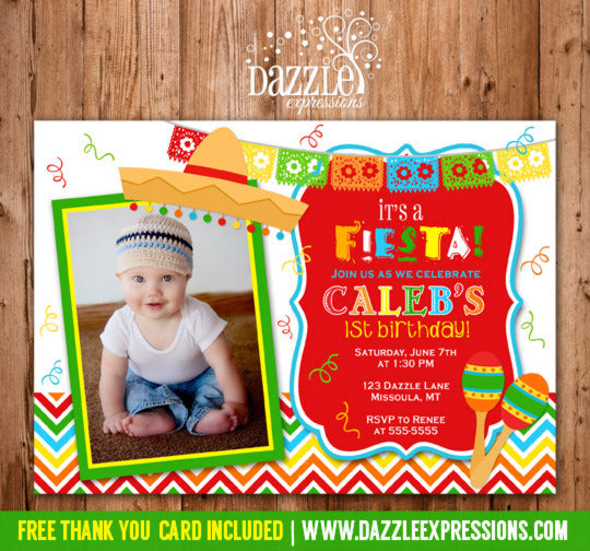 Fiesta Invitation 1 - FREE Thank You Card Included