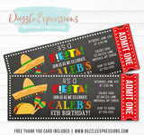 Fiesta Chalkboard Ticket Invitation - FREE thank you card included