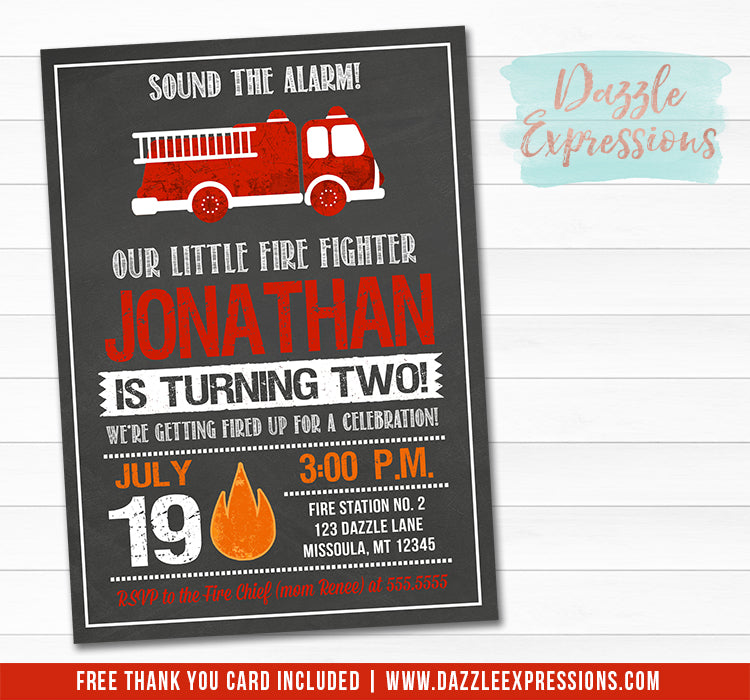 Fire Truck Chalkboard Invitation 1 - FREE thank you card included