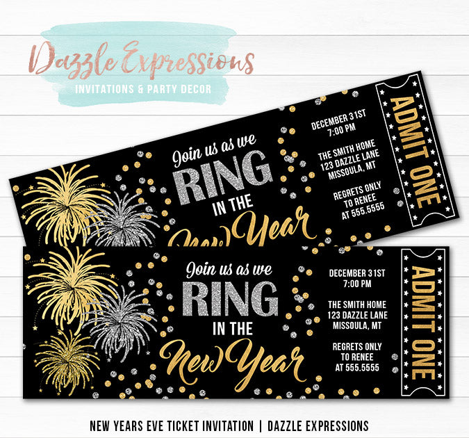 Fireworks New Years Eve Ticket Invitation
