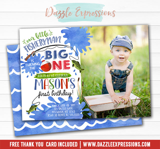 Fishing Watercolor Invitation 2 - FREE thank you card and back design