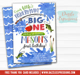 Fishing Watercolor Invitation 1 - FREE thank you card and back design
