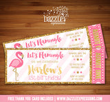 Flamingo Ticket Invitation 4 - FREE thank you card included