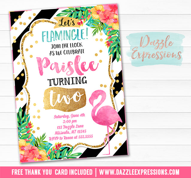 Flamingo Watercolor Invitation 3 - FREE thank you card