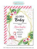 Flamingo Baby Shower Invitation - FREE thank you card